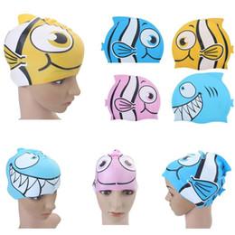 sombrero de natación de dibujos animados Rebajas 2017 Recién Llegado de 1 pc Niños de Silicona Animal Fish Cartoon Niño Natación Cabeza de Baño Cubierta Cap Sombrero