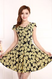 Wholesale Cheapest Clothes - Floral Printed Dresses Casual Short Dress Womens Female Summer Clothes Big Size L-4XL Cheapest Clothing New Fashion 2017