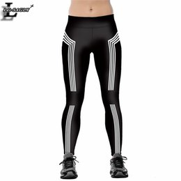 Wholesale Fitness Shells - Wholesale- Lei-SAGLY Summer Striped Black Leggings Ghost in the Shell Leggins Women Fitness Elastic Workout Leggings Fashion Pants AS57