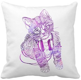"Wholesale Headphone Cushion Covers - Funny Colorful Cat in Headphones illustration Throw Pillow Case, Squar Sofa Cushions Cover, ""16inch 18inch 20inch"", Pack of X"