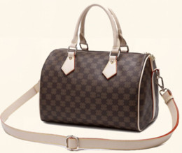 Wholesale Leather Brown Pillow - 2017 NEW women real leather shoulder bag handbag speedy lady bag tote bag
