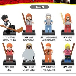 Wholesale Dolls Harry Potter - 8pcs loy Super Heroes Harry Potter Friends Ron Weasley Lord Voldemort Ginny Death Eater Dolls Building Blocks Childen Gift Toys X0129