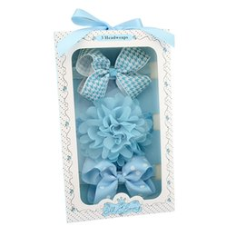 Wholesale Elastic Bows For Gifts - One Set 3 Pcs Baby Hair Accessories Girls Dot Bow-Knot Headband Lace Flower Elastic Hairband With Gift Box For Present Beautiful HuiLin C18