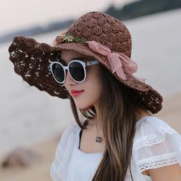 Wholesale Ladies Hats Big Bows - Wholesale- 2017 Ladies Fashion Wide Large Brim Flowers Floppy Summer Beach Straw Sun Hats For Women Cap with big bow Hat chapeau femme