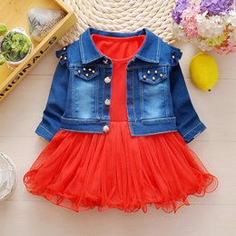 Wholesale Girls Piece Dress Jacket - 2017 Autumn Baby Girls Clothes Sets Denim jacket+Lace TUTU Princess Dress 2 Piece Kids Fashion Suits Infant Children Casual Suits