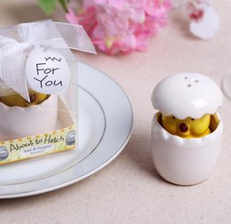 "Wholesale Crafts Favors - Spice Jar "" About to Hatch"" chicken saltcellar and pepper shakers Ceramic arts and crafts Seasoning cans Baby shower and wedding favors"