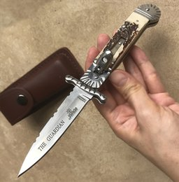 Wholesale Edc Case - Hubertus Solingen folding pocket knife AKC italy automatic knife Leather case hunting knife Quickly open the
