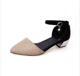 Wholesale Low Heel Gold Dress Sandals - 2017 new Baotou hollow female sandals chaussure buckle low with female pointed single shoe flat shoe size 35-39