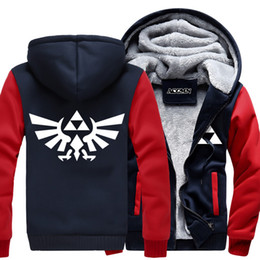 Wholesale Usa Length - Wholesale- Dropshipping USA Best Qualty The Legend of Zelda Unisex cosplay jacket Custom Made Big Size Thicken Hoodie Sweatshirt Coat