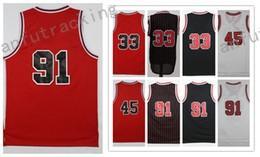Wholesale 91 Jersey - Men Basketball Retro Maverickz Bullz #33 PIPPEN #45 JORDAN #91 RODMAN White Black Red Throwback Jerseys