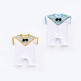 Wholesale Stitch Romper - 2017 baby 2 color new styles Hot sell infant kids Summer high quality cotton Triangle stitching Gentleman bow tie tassel short sleeve romper