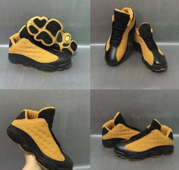 Wholesale Retro Products - With Box New Products 2017 Men Basketball Shoes Retro 13 Low Chutney Yellow Sneakers Sprots Shoes for men US8-US13 Free Drop Shipping