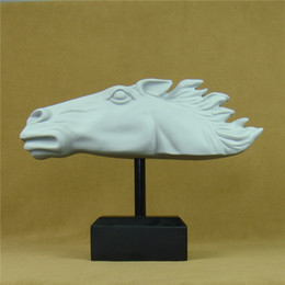 Wholesale Handmade Crafts For Birthdays - Handmade Horse Head Statue Abstract Resin Bronco Sculpture Horoscope Mascot Craft Ornament Furnishing for House Decor and Birthday Gift
