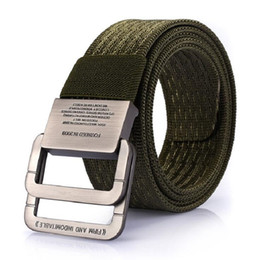 Wholesale Canvas Belt Ring Buckle - 2017 Military Equipment Tactical Belt Man Double Ring Buckle Thicken Canvas Belts For Men Waistband Free Shipping