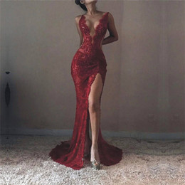 Wholesale Plunge Back Dress - 2017 Mermaid Lace Sexy Prom Dresses Trumpet Plunging V Neck High Front Split Evening Gowns High Quality Formal Celebrity Dresses