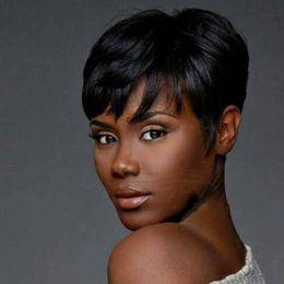 Wholesale Short Female Wigs - Synthetic Short Wigs for Black Women Pixie Cut Wig Short Black Hair Natural Cheap Hair Wig Synthetic Women Hair Cuts Female
