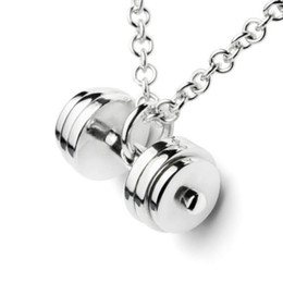 Wholesale Workout Charms - Wholesale-2016 new men silvering dumbbell necklace fashion jewelry charm Pendant gym fitness accessory crossfit barbell workout jewelry