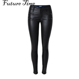 Wholesale Tight Sexy Jeans Woman - Wholesale- 2017 spring women jeans faux PU leather jeans coated slim skinny pencil pants sexy stretch tight femme skinny black jeans C0448
