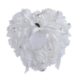 Wholesale Wedding Ring Pillow Wholesale - Crystal Pearl Bridal Ring Pillows Crystal Organza Satin Lace Bearer Ring Pillow Ribbon Rose Flower Wedding Supplies Ring Pillows 6 Colors
