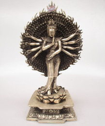 Wholesale Hand Sculptures - Antique antiques Collectible Decorated Old Handwork Tibet Silver Carved Avalokitesvara Buddha Statue  More Hands Sculpture