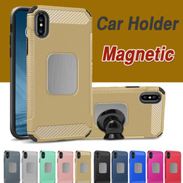 Wholesale Car Cover Layer - Armor Hybrid Dual Layer Car Stand Holder Magnetic Phone Soft TPU Shockproof Protective Cover Case For iPhone X 8 7 Plus Samsung Note 8 S8