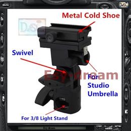 Wholesale Flash Cold Shoe - Wholesale-Metal Flash Stand Cold Shoe Umbrella Holder Swivel Bracket B Type For Studio Flash Light Stand PF261