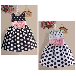 Wholesale America Mid - america europe style girls sundress toddler children dresses dot print sleeveless mid-calf style pink floral flower black or white vestidos