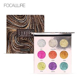 Wholesale Bright Palette - FOCALLURE Professional 9 Colors Makeup Eyeshadow Palette Eye Shadow Bright Glitters Makeup Lips Face Glitter Palette FA55