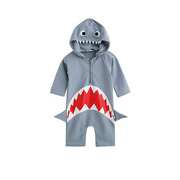 Wholesale Kids Swimwear For Girls - children girl swimsuit shark print swimsuit for swimming one piece high cut swimsuit girls swimwear kids bathing suits
