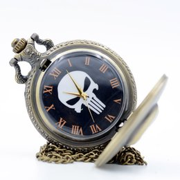 Wholesale Pocket Dial - Vintage Retro The Punisher Skull Dial Roman Numeral Quartz Pocket Watch Analog Pendant Necklace Men Women Watches Chain Gift