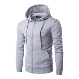 Wholesale Menswear Jacket - New men hooded zipper draw string cultivate one's morality pure color fleece jackets menswear men hoodies