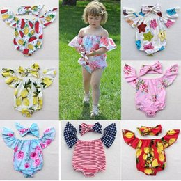 Wholesale Tops Shorts Headband - cotton baby rompers set boat neck onesie flutter sleeve tops girls flower headbands + floral bodysuits 4th of july toddler clothes pineapple