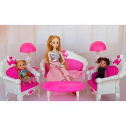 Wholesale Room Sofa Set - 6Pcs  Pack Dollhouse Furniture Living Room Parlour Sofa Chair Set Plastic for Barbie Acessorios House Furniture for Dolls