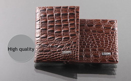 Wholesale Houndstooth Dress Mini - 2017 new style fashion quality leather luxury wallet , Alligator grain casual short design card holder money wallets for men free shipping