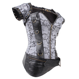 Wholesale Lingerie Jacket - Brown Steampunk Clothing Women Plus Size Corset Top 2016 Gothic Full Steel Boned Corsets Overbust Bustier Sexy Jacket lingerie