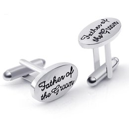 Wholesale Father Bride Cufflinks - Father's Wedding Gift Tuxedo Stylish Cufflinks Silver Plated Oval Handstamped Father of the Groom Bride French Shirt Cuff Links