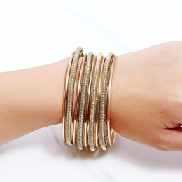 Wholesale 14k Gold Findings Wholesale - Find Me 2017 fashion Vintage gold color Cuff Bracelet individuality multilayer circle set bracelets bangle for women Jewelry free shipping