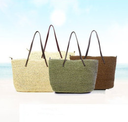 Wholesale Large Straw Handbags - 2017 Summer Straw Weave Handbags Crochet Soft Casual Tote Women Fashion Solid Shoulder Beach Linen Woven Bucket Bag