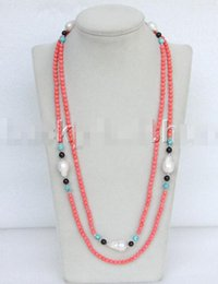 "Wholesale Keshi Pearl White - Free Shipping ***length 50"" 5mm round pink coral white keshi pearls necklace j11640"