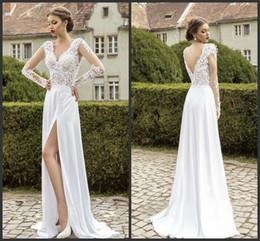 Wholesale Designer Split Front Wedding Gown - Deep V Neck Wedding Gown Long Sleeve Iullsion Backless Sexy Designer Dresses Floor Length High Quality Formal Bridal Gown Appliques Elegant