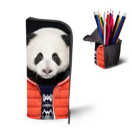 Wholesale Cosmetic Pen Dark Brown - Wholesale- Cute Vintage Panda Print Makeup Bag Woman School Pencil Bag Fashion Girls Make Up Cosmetic Bag Big Boys Girls Pen Case