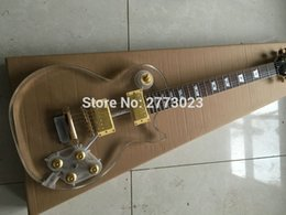 Wholesale Led Crystal Acrylic Guitar - NEW Electric Guitar ,guitarra,Fingerboard & crystal Body with LED, LP Acrylic guitar, Clear, Chrome Hardware -Wholesale