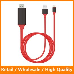 Wholesale Hdtv Iphone - Red 2M HDMI Cable Adapter for iPhone 5 6 6s 6 Plus iPad iPod Screen Video to HDMI HDTV With Retail Packing