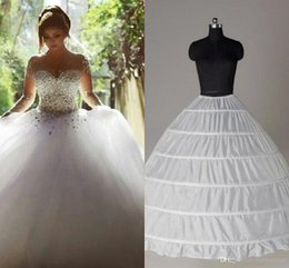 Wholesale Top Skirts - Top Quality Ball Gown 6 Hoops Petticoat Wedding Slip Crinoline In Stock Bridal Underskirt Layers Slip Skirt Crinoline For Quinceanera Dress