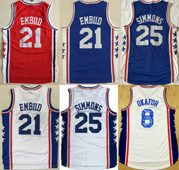 Wholesale Rugby Shirts Xxl - 2017 Basketball Jerseys 76ers#25 Ben Simmons 21 Joel Embiid All-Star 8 Jahlil Okafor Blue Stitched Shirts Basketball Jersey