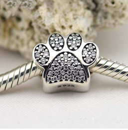 Wholesale Cube Element - Fits Pandora Bracelets 2015 Paw Silver Beads With Cubic Zirconia New 100% 925 Sterling Silver Charms DIY Jewelry Wholesale