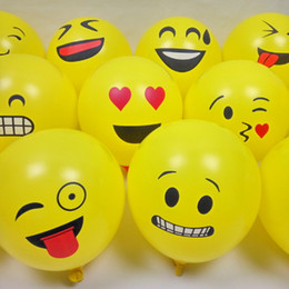 Wholesale Balloon Decor For Weddings - 100pcs   Lot Emoji Smile Balloons Party Wedding Decorative Balls for Toy Favor Gift Cartoon Face Air Balloon Christmas Decoration Decor