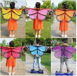 Wholesale Dhl Free Shipping Scarf - Soft Scarf Kid's Butterfly Wings Print Shawl Fairy Ladies Nymph Pixie Costume Accessory Girls And Boys Scarf Bufandas DHL Free Shipping