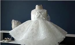 Wholesale wedding puff sleeves dress - Noble white chiffon baptism christening gown,New born baby girls big bow princess Tutu birthday dresses for wedding