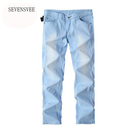 Großhandels- 2016 heiße Verkaufs-Art- und Weisebeiläufige dünne dünne Entwerfer-Denim-Himmel-Blau-Jeans-Männer Einzelverkauf Großverkauf dünne männliche Hosen Jeans homme von Fabrikanten